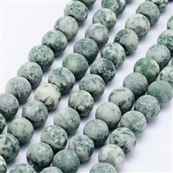 "Green Spot Stone Natural Green Spot Stone Beads Strands, Frosted, Round, 6mm, Hole: 1mm; about 62pcs/strand, 15.3""(39cm)"