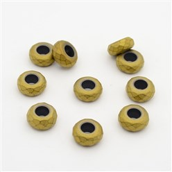 Golden Plated Frosted Faceted Rondelle Electroplated Non-magnetic Synthetic Hematite Beads, Large Hole Beads, Golden Plated, 13x6.5mm, Hole: 6mm