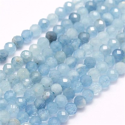Natural Aquamarine Beads Strands, Faceted, Round
