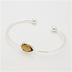 Camel Silver Plated Brass Glass Cuff Bangles, Torque Bangles, Camel, 40x57mm