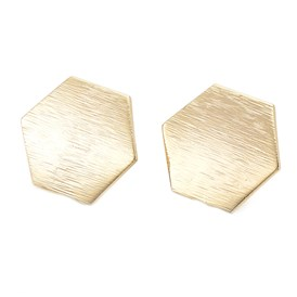 Brass Stud Earrings Findings, with Loop, Hexagon, Real Gold Plated