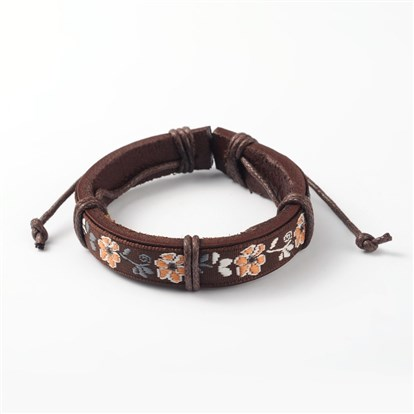 Adjustable Unisex Cowhide Cord Bracelets, with Flower Pattern Cloth Cord, 58x47mm-1