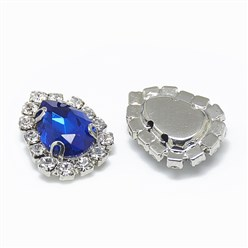 Sapphire Sew on Rhinestone, Glass Rhinestone, with Platinum Tone Brass Prong Settings, Garments Accessories, Drop, Sapphire, 14.5x11x5mm, Hole: 0.8mm