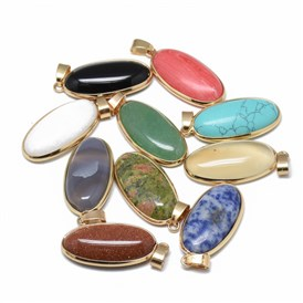 Natural & Synthetic Mixed Stone Pendants, with Golden Tone Iron Snap On Bails, Oval