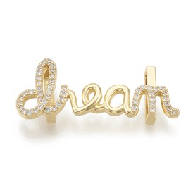 Brass Micro Pave Cubic Zirconia Slide Charms, Word, Clear