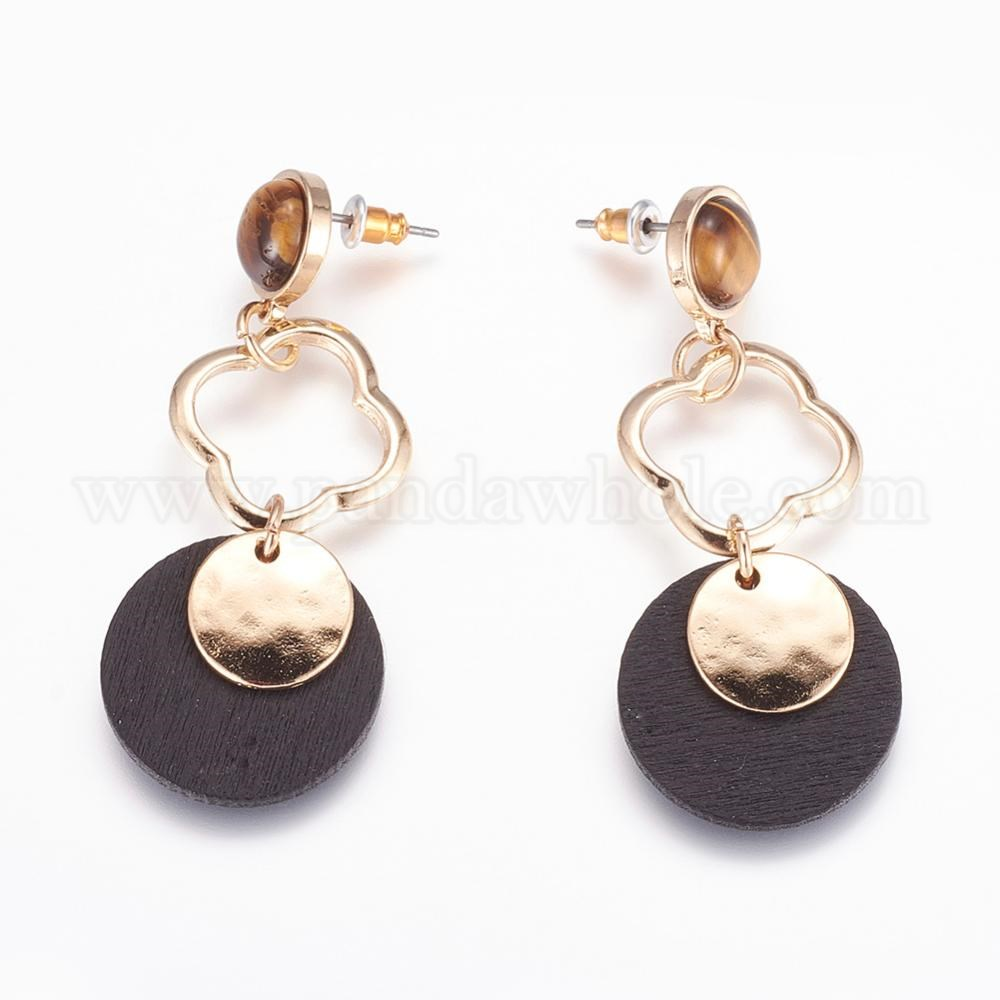 Wholesale Wood Dangle Stud Earrings With Iron Pin And
