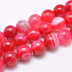 "PaleVioletRed Natural Striped Agate/Banded Agate Bead Strands, Dyed & Heated, Round, Grade A, PaleVioletRed, 14mm, Hole: 2mm; about 28pcs/strand, 14.9""(380mm)"