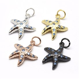 Environmental Brass Micro Pave Grade AAA Cubic Zirconia Pendants, Starfish, Lead Free & Nickel Free & Cadmium Free