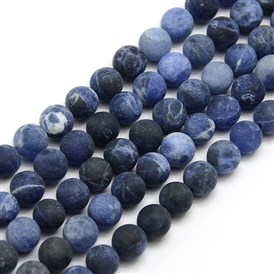 Frosted Natural Sodalite Round Bead Strands