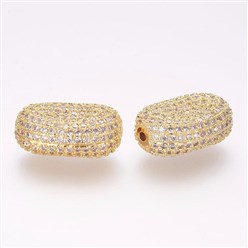 Golden Brass Micro Pave Cubic Zirconia Beads, Oval, Golden, 19x13.5x8mm, Hole: 1.5mm