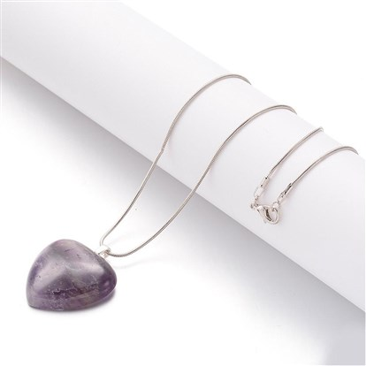 Amethyst Pendant Necklace, with Brass Round Snake Chain, Heart-1