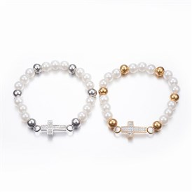 304 Stainless Steel Stretch Bracelets, with Acrylic Pearl Beads and Rhinestone, Cross