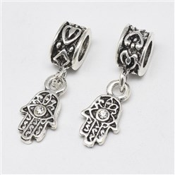 Crystal Alloy European Dangle Beads, with Rhinestones, Large Hole Pendants, Long-Lasting Plated, Hamsa Hand/Hand of Fatima/Hand of Miriam with Eye, Antique Silver, Crystal, 25mm, Hole: 4.5mm; Hamsa Hand/Hand of Fatima/Hand of Miriam with Eye: 15x8x3mm