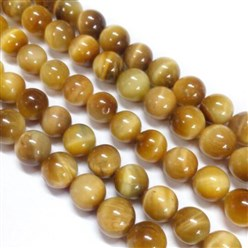 Goldenrod Natural Tiger Eye Beads Strands, Dyed, Round, Goldenrod, 6mm, Hole: 1mm; about 62pcs/strand, 15.75""