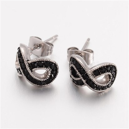 316 Stainless Steel Stud Earrings, Infinity, with Rhinestones-1