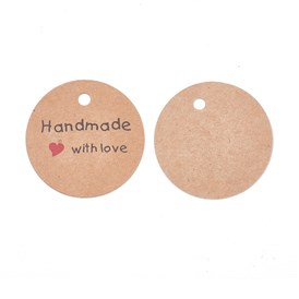 Jewelry Display Kraft Paper Price Tags, Round with Word Handmade with Love