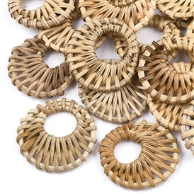 Handmade Reed Cane/Rattan Woven Pendants, For Making Straw Earrings and Necklaces, Flat Round