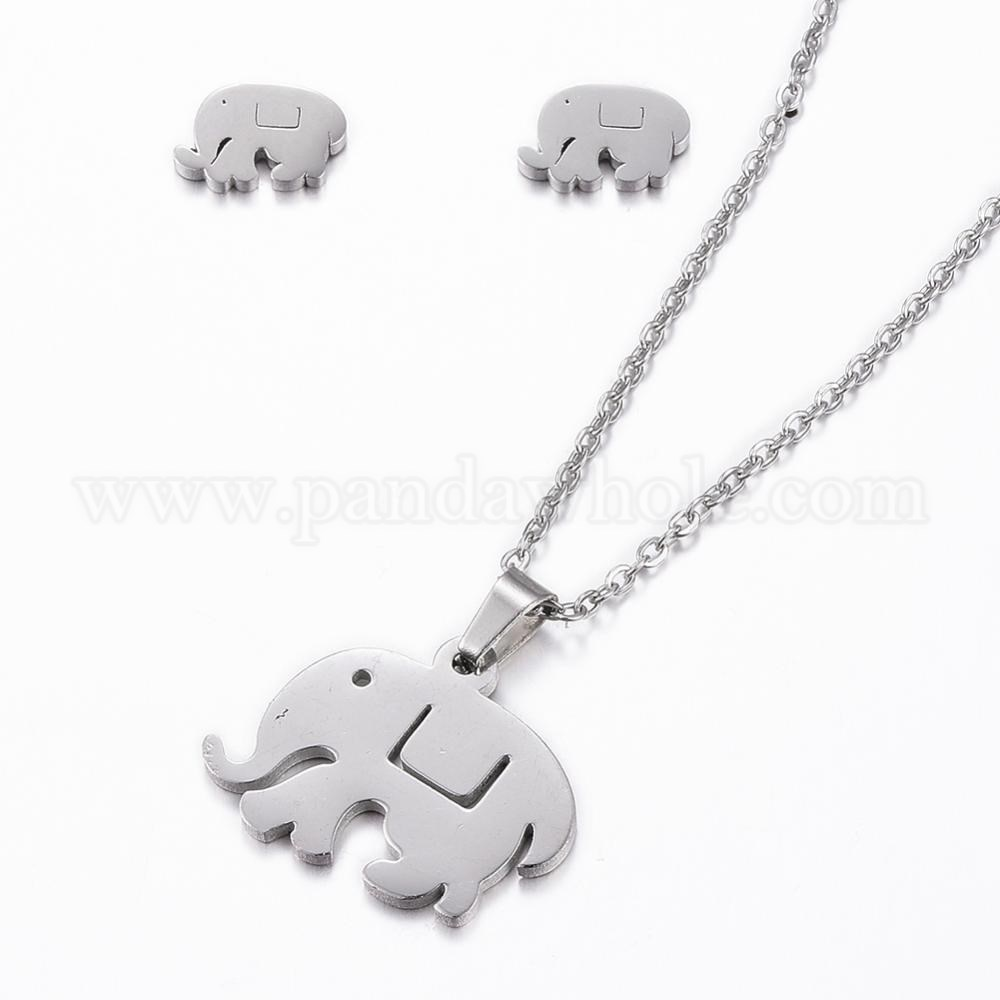 210029d17b2c0 304 Stainless Steel Jewelry Sets, Stud Earrings and Pendant Necklaces,  Elephant