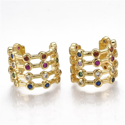 Brass Micro Pave Cubic Zirconia Clip-on Earrings