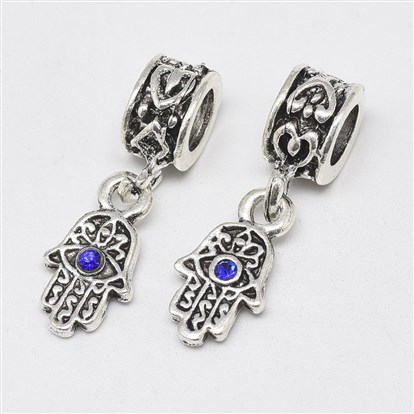 Alloy European Dangle Beads, with Rhinestones, Large Hole Pendants, Long-Lasting Plated, Hamsa Hand/Hand of Fatima/Hand of Miriam with Eye