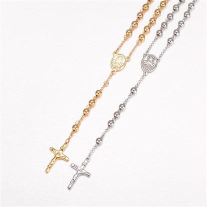 304 Stainless Steel Necklaces, Rosary Bead Necklaces-1
