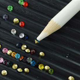 Nail Art Rhinestones Picking Tools,  Pencil Pen Pick Up Pen, White, 175x7mm