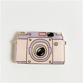 Acrylic Safety Brooches, with Iron Pin, Camera