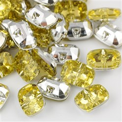 ChampagneYellow Taiwan Acrylic Rhinestone Buttons, Faceted, 1-Hole, Rectangle, ChampagneYellow, 30x21x10.5mm, Hole: 2mm