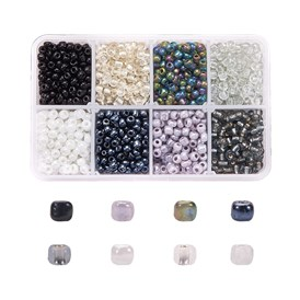 6/0 Mixed Glass Seed Beads Round  Loose Spacer Beads, 4mm, Hole: 1mm