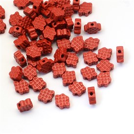 Chinese Knot Cinnabar Beads, 7~8x10~11x4~5mm, Hole: 1.5mm