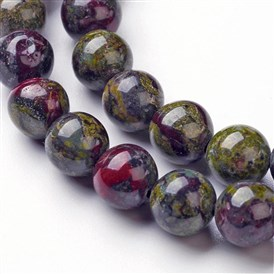 Natural Dragon Blood Jasper Bead Strands, Round