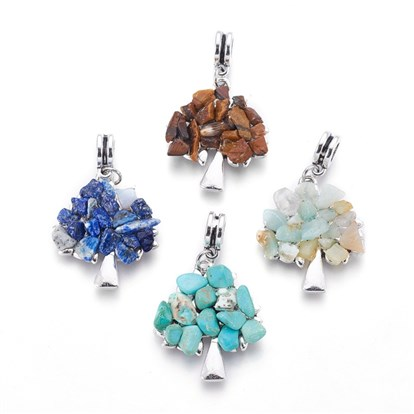 Alloy European Dangle Beads, with Natural/Synthetic Mixed Gemstone Chips, Tree, Antique Silver-1