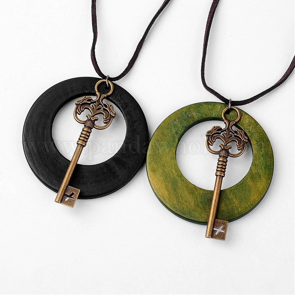 Wholesale alloy wood pendants necklaces with wool cord hollow flat alloy wood pendants necklaces with wool cord hollow flat round antique bronze key aloadofball Image collections