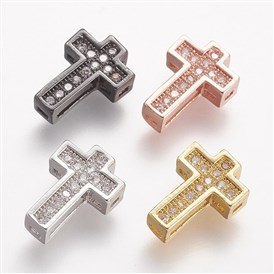 Brass Micro Pave Cubic Zirconia Beads, Cross, Clear