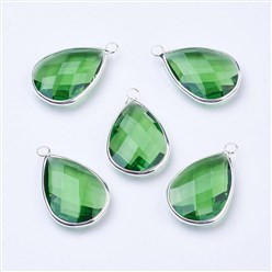 Lime Silver Tone Brass Glass Drop Pendants, Faceted, Lime, 18x10x5mm, Hole: 2mm