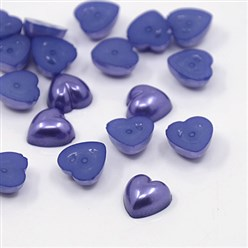 MidnightBlue Acrylic Imitation Pearl Cabochons, Dyed, Heart, MidnightBlue, 10.5x10.5x5mm; about 1500pcs/bag