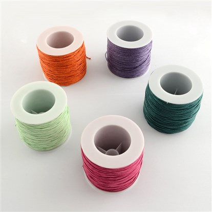 Waxed Cotton Thread Cords, 1mm; about 100yard/roll-1