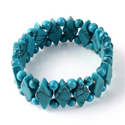Synthetic Turquoise Stretch Bracelets, Dyed-1