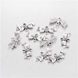Alloy Links, Lead Free and Cadmium Free, Bowknot, 20mm long, 10mm wide, 3mm thick, hole: 2mm