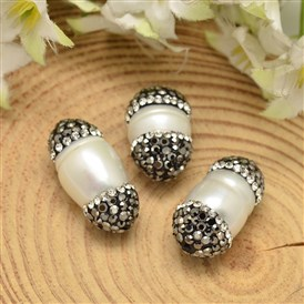 Oval Shell Pearl Beads, with Polymer Clay Rhinestones, 16~22x10.5~12mm, Hole: 1mm