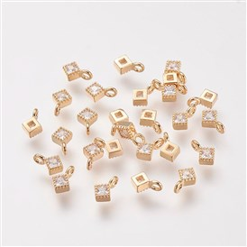 Brass Cubic Zirconia Pendants, Real Gold Plated, Rhombus