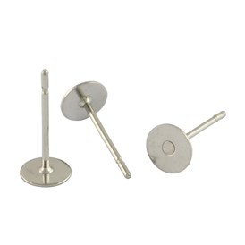304 Stainless Steel Flat Round Blank Peg Stud Earring Findings, Earring Cabochon Setting Post Cup