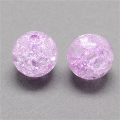 Lilac Transparent Crackle Acrylic Beads, Round, Lilac, 8mm, Hole: 2mm; about 1890pcs/500g