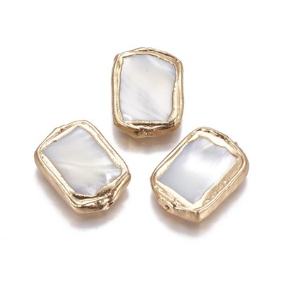 Shell Beads, Edge Golden Plated, Rectangle