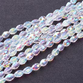 Electroplate Glass Beads Strands, Faceted Oval