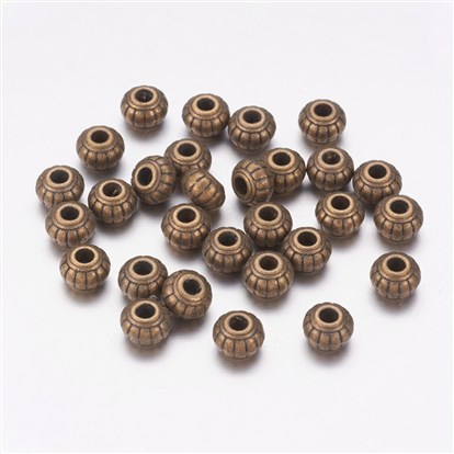 Tibetan Silver Beads, Lead Free and Cadmium Free, Flat Round, about 6mm long, 6mm wide, 4.5mm thick, hole: 1.5mm.