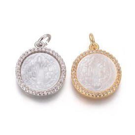 Brass Pendants, with Micro Pave Cubic Zirconia, Shell and Jump Rings, Flat Round with Saint Benedict