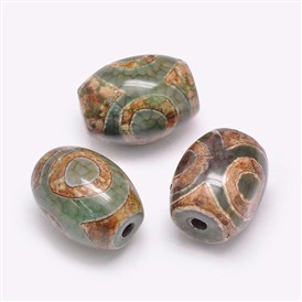 Tibetan Style dZi Beads, Natural Agate Beads, Dyed & Heated, Barrel, Three Eyes