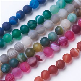 Natural Grade A Striped Agate/Banded Agate Beads Strands, Dyed & Heated, Frosted, Round