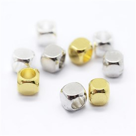 Cube Brass Spacer Beads, Barrel Plating